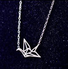 Silver Plated/18K Dainty Origami Crane Bird pendant Necklace