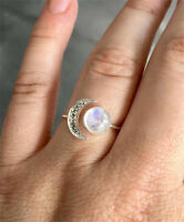 Handmade Moonstone Ring 925 Silver Boho Moon and Sun Ring Jewelry Opening Size