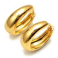Women's Hoops Luxury Earrings 24k Yellow Gold Filled 21mm shining Wedding Gift