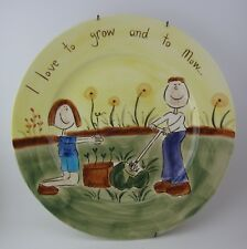 Beth For Whittard I LOVE TO GROW AND TO MOW Plate Hand Painted Stoneware Plate