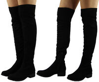 Womens Thigh High Boots Ladies Over The Knee Stretch Suede Low Heel Shoes Size