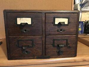 Yawman & Erbe Mfg Co  4 Drawer Oak Library Card Catalog Cabinet