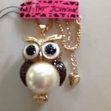 """BROWN CRYSTAL/PEARL OWL 28"""" Pendant Necklace Betsey Johnson"""