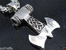 Neu XXL Edelstahl  Anhänger Thorhammer Thors Hammer Doppelaxt für Königsketten