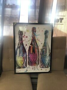 Oliver Gal Rare Don Perignon Framed Fashion Designer Wall Art Abstract 32x24