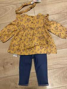 Primark Baby Girl Floral 3 Piece 12-18 Month Legging Set Outfit