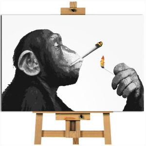 Monkey smoking spliff joint canvas wall art print