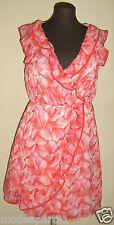 Robe Féminine H&M en 44 Tissu Fleuri Orange et Rose Vaporeux TBE