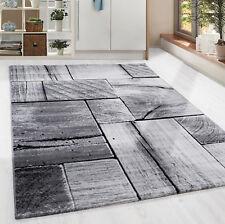 Moderner Design Holzstrucktur Teppich Kurzflor Wohnzimmer Schwarz Grau meliert