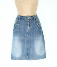 Women's Vintage FITT JEANS High Waist Stretch Blue Denim Western Jean Skirt UK16