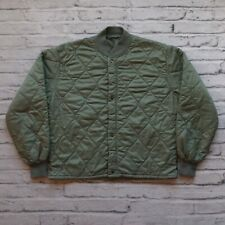 Vintage Diamond Quilted Military Jacket Liner Size M General Zipper Army