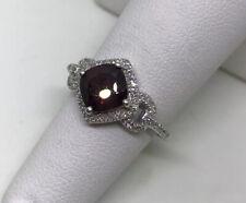 Garnet Ring Diamond 10 Karat White Gold Halo Style Cushion Cut Size 5 1/2
