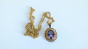 Vintage 1916 Georg Jensen 9ct Yellow Gold Amethyst Pendant Chain Necklace - 3.1g