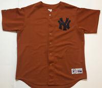 VTG 90's Majestic New York Yankees Jersey Stitched MLB Orange Men's XL Rare