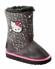 GIRLS OFFICIAL HELLO KITTY BLACK GLITTER FUR WARM WINTER BOOTS UK SIZE 6-12