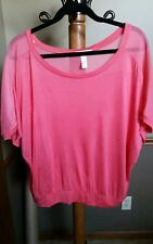 Ambiance Apparel Plus Size 1X Coral Dolman Sleeves Top