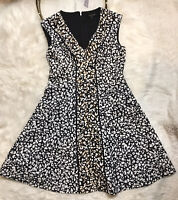 Nanette Lepore Women's Dress Size 6 Black White Sleeveless Lined Zip Back