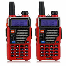 2x Baofeng Uv-5r Plus Qualette Series Red Earpiece Vhf/uhf 5w Ham 2-way Radio