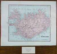 "Vintage 1900 ICELAND Map 14""x11"" ~ Old Antique Original REYKJAVIK AKUREYRI"