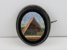 Rare Antique Victorian c1850 Italian Micro Mosaic Brooch with Giza Pyramid, 6.1g