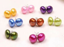 Natural 8Pairs 8Colors 7-8/8-9/9-10mm Sea Shell Pearl beads Silver Stud Earrings