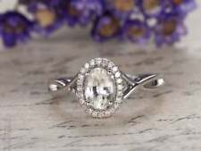 2.10Ct Oval Cut VVS1/D Diamond Halo Style Anniversary Ring 14K White Gold Finish