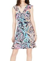 Trina Turk Women's Sheath Dress Blue Size 4 Flounce Hem Jersey Printed $138 #014