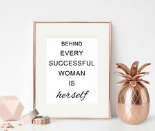 Inspirational Quote Print Office Wall Art Behind Every Successful Woman For Her