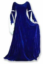 Long Sleeve Blue & Silver Velvet Ren Faire Dress SCA Gown Medieval Renaissance