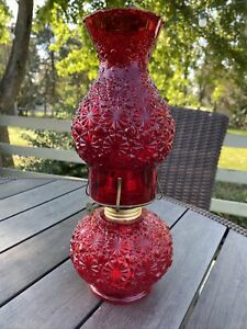 Vintage L E Smith Glass Ruby Red Daisy Button Oil Lamp & Shade Eagle Burner NEW