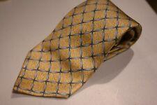 Bvlgari 7 Fold Luxury Yellow Silver Link Made Italy Silk Tie