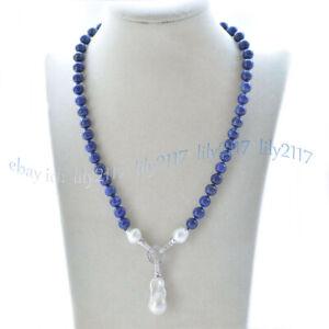 8mm Blue Lapis Lazuli Natural White Keshi Baroque Pearl Pendant Necklace 16-28''