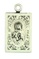 "Our Lady of Mount Carmel with Sacred Heart 7/8"" Sterling Silver Scapular Medal"