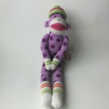 "Sock Monkey Purple Knit Stripes 21"" Magnetic Plush SEASONS of Cannon Falls"