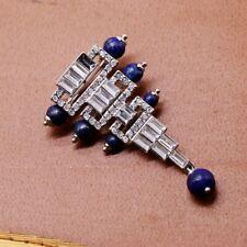 Broche Argenté Art Déco Triangle Perle Lapis Lazuli Bleu Plaqué Argent 925 QD6