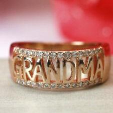 Fashion Rose Gold Plated Rings Shiny Zircon Rhinestone Grandma Ring Jewelry Gift
