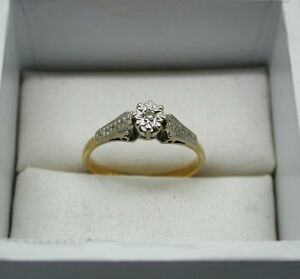 1960's Vintage 18ct Gold Diamond Solitaire Ring