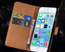 Luxury Genuine Leather Stand Flip Wallet Case For iPhone 6S Or 6 , BLACK COL