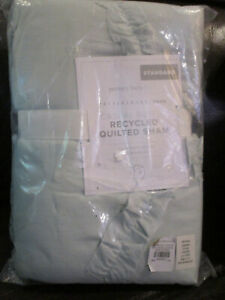 POTTERY BARN KIDS/ TEEN CASUAL RUFFLE RECYCLED QUILT ICE BLUE STANDARD SHAM NEW