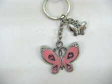 Bling Pink Butterfly Key Ring