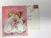 Norcross Valentine Card Angels Kissing Feather Wings Envelope APO Cancel Stamp