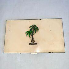 New listing Unusual Vintage Enamel Cigarette Case Marcasite Palm Tree Yellow Cream 40s 50s