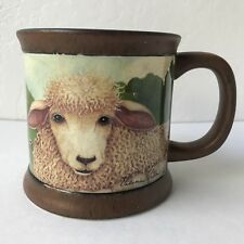 Hallmark Valerie Pillow Lamb Farm Barn Country Side Scene Mug Cup Black Inside