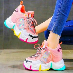 Casual Women Breathable Platform Wedge Ankle Boots Fashion Sneaker High Heels