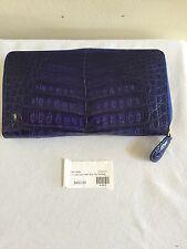 New $450 JOHANNA KONANZ Blue Shiny Genuine Crocodile Skin Women's Long Wallet