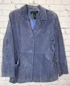 Dialogue Suede Leather Jacket Button Down Pockets Blue Periwinkle Women's Size L