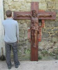 A Large Carved Wooden Crucifix,  French Cross