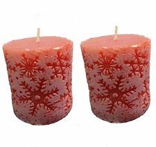 2 x 7cm Red Merry Christmas XMAS Wax Snow Candle Candles Deepawali Diwali