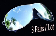 3 Pairs Aviators Silver Full Mirror Sunglasses Top Gun