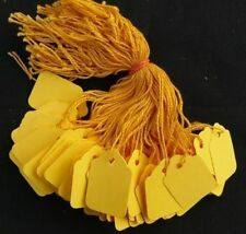 1000 x 32mm x 22mm Yellow Strung String Tags Swing Price Tickets Tie On Labels